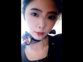 Cumtribute For Chinese Slut - She's Boyfriend Request Me